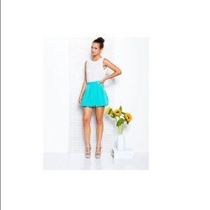 Alice Olivia Rhymes Turquoise Bubble Mini Skirt